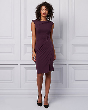 Pleated Knit Wrap-Like Dress