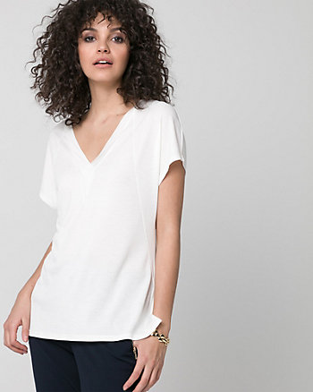 Piqué V-Neck Top
