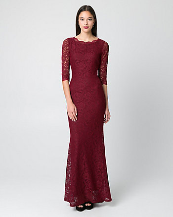Lace Boat Neck Gown