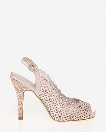 Jewel Embellished Cutout Satin Slingback