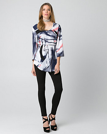 Abstract Print Crêpe Tunic Blouse