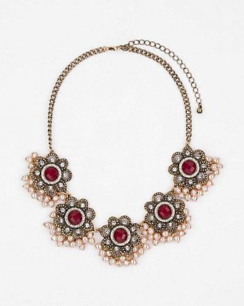 Gem Flower Bib Necklace