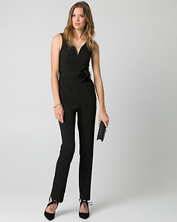 Knit Crêpe Slim Leg Jumpsuit