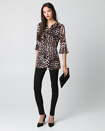 Animal Print Chiffon Tunic Blouse