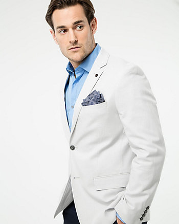 Tonal Cotton Blend Contemporary Fit Blazer
