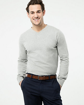 Cotton Blend V-Neck Sweater