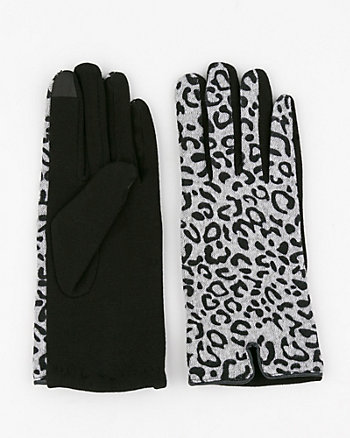 Leopard Print Wool Blend Gloves