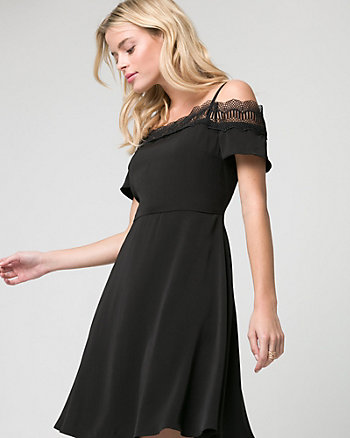 Lace & Crêpe de Chine Cold Shoulder Dress