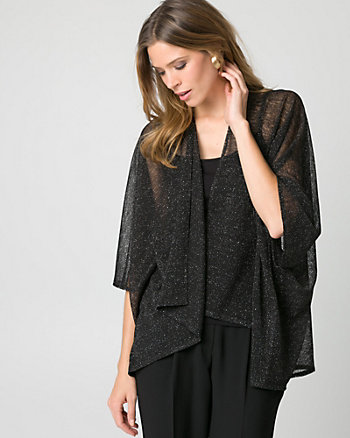 Metallic Knit Open-Front Poncho