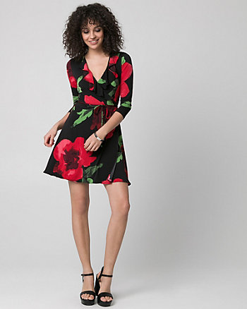 Floral Print Knit Wrap-Like Mini Dress