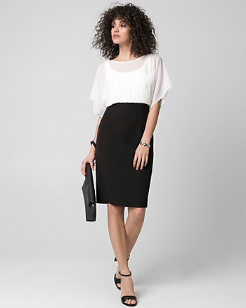 Chiffon Scoop Neck Shift Dress