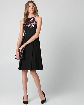 Embroidered Lace & Bengaline Halter Dress