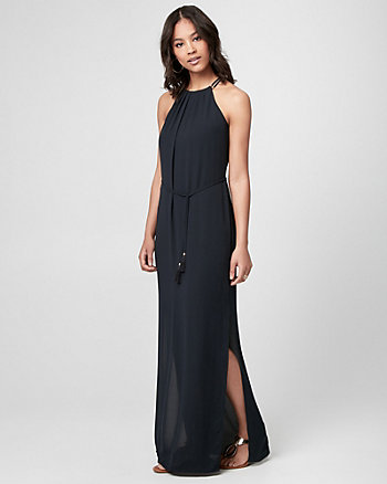 Crêpe de Chine Halter Maxi Dress