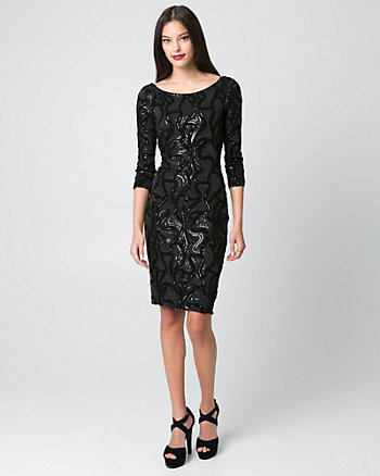 Sequin & Lace V-Back Cocktail Dress