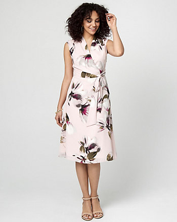 Floral Print Crêpe de Chine Midi Dress