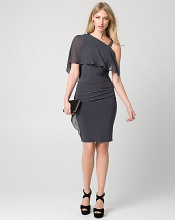Embellished Chiffon One Shoulder Cape Dress