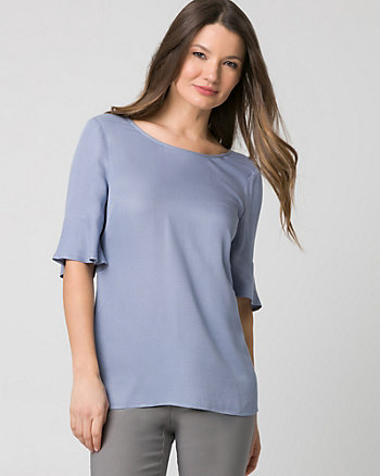 Viscose & Jersey V-Back Top
