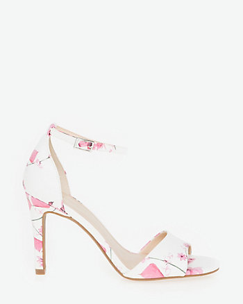 Floral Faux Leather Ankle Strap Sandal