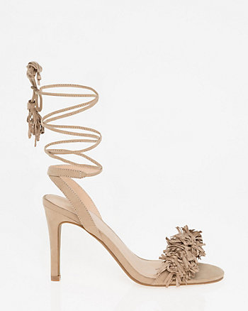 Suede-Like Lace-Up Fringe Sandal