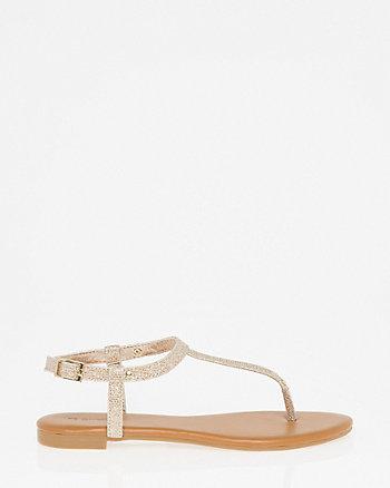 Glitter Mesh T-Strap Thong Sandal