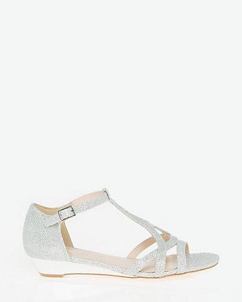 Glitter Mesh T-Strap Sandal