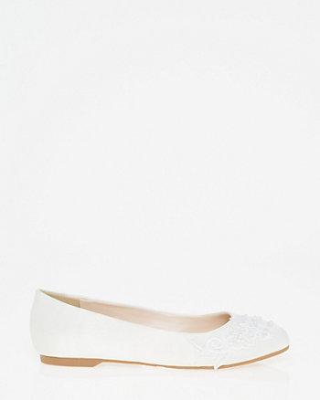 Embellished Lace & Satin Ballerina Flat
