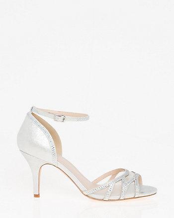 Jewels & Mesh Ankle Strap Sandal