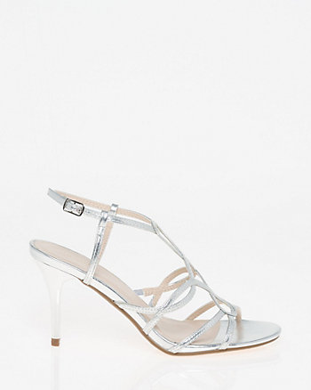 Metallic Faux Leather Strappy Sandal