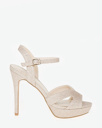 Glitter Ankle Strap Platform Sandal