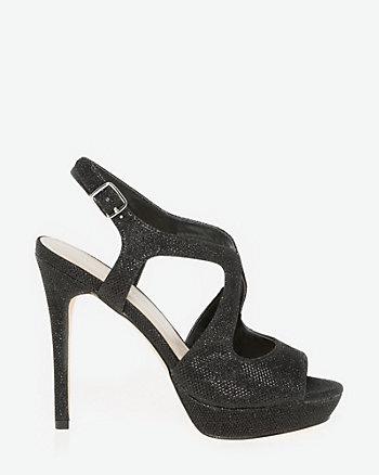 Glitter Mesh Criss-Cross Platform Sandal