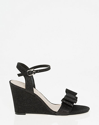 Glitter Mesh Bow Wedge Sandal