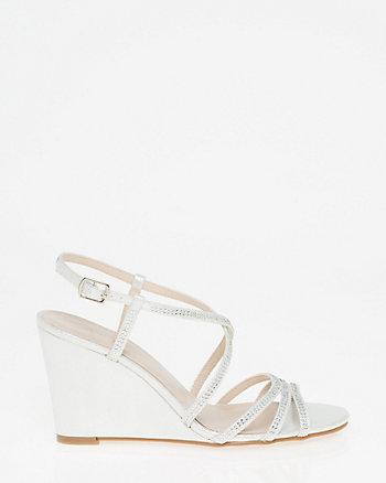 Embellished Metallic Foil Strappy Sandal