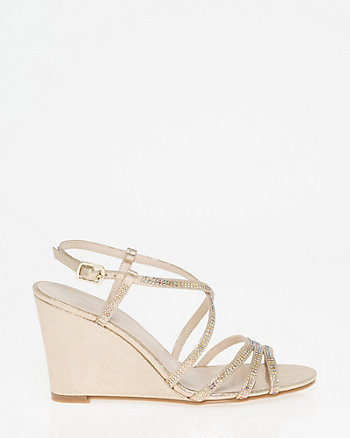 Embellished Metallic Foil Strappy Sandal