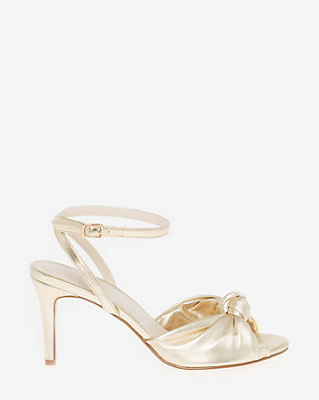 Metallic Leather-Like Ankle Strap Sandal