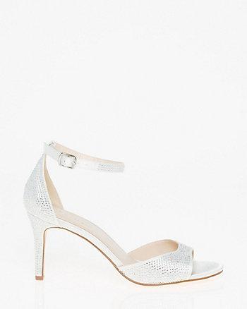Embellished Satin Ankle Strap Sandal