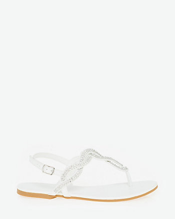 Jewel Embellished Faux Leather Thong Sandal