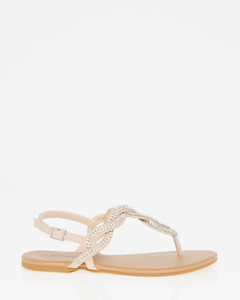 Jewel Embellished Leather-Like Thong Sandal