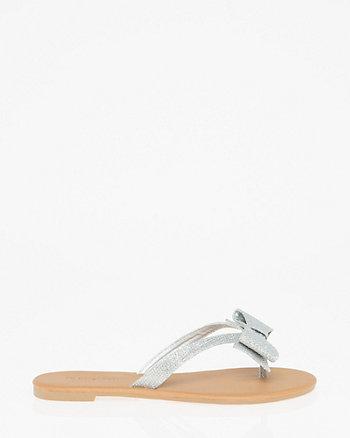 Glitter Mesh Bow Thong Sandal