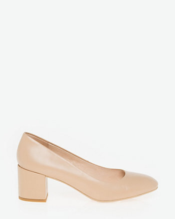 Leather Round Toe Pump