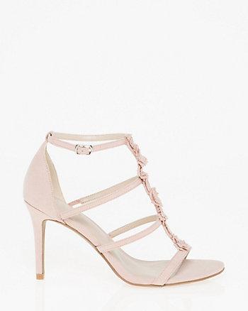 Suede-Like Floral T-Strap Sandal