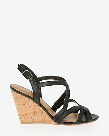 Faux Leather Open Toe Strappy Sandal