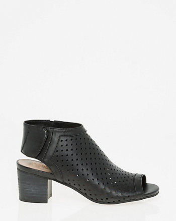 Perforated Leather Slingback Shootie