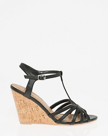 Leather-Like T-Strap Sandal