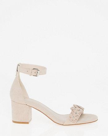 Floral Faux Suede Ankle Strap Sandal