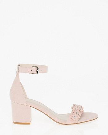 Floral Suede-Like Ankle Strap Sandal