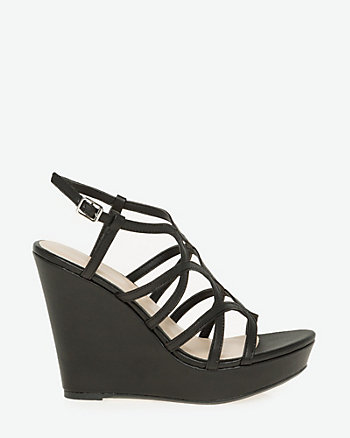 Leather-Like Open Toe Strappy Sandal