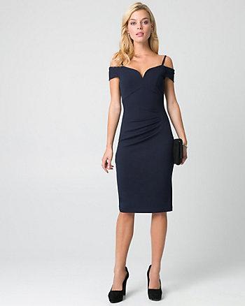 Knit Crêpe Off-the-Shoulder Dress