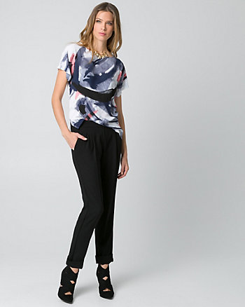 Abstract Print Crêpe de Chine Boat Neck Top