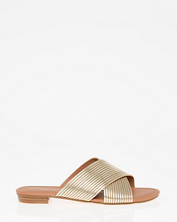 Open Toe Criss-Cross Slide Sandal
