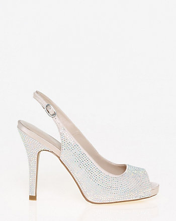 Jewel Embellished Satin Slingback Pump